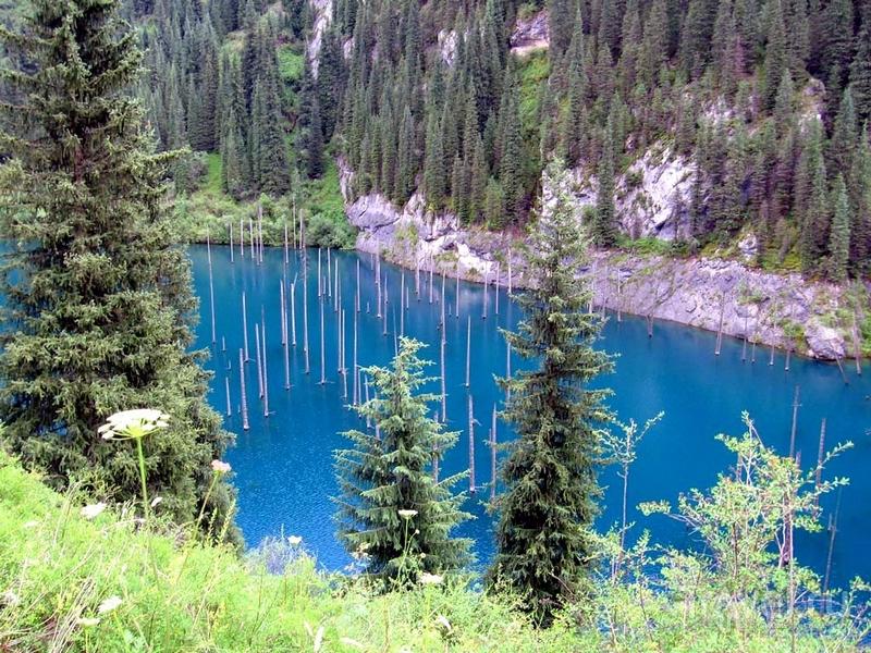В конце 80-х годов прошлого века площадь озера Каинды уменьшилась после прохождения селевого паводка, Казахстан / Казахстан