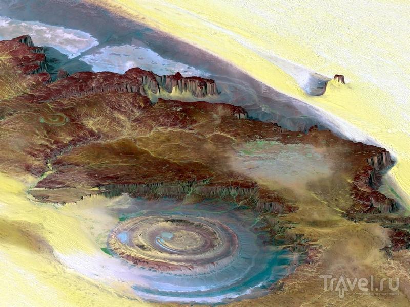 Топографическая реконструкция структуры Ришат со спутниковых фотографий / Мавритания