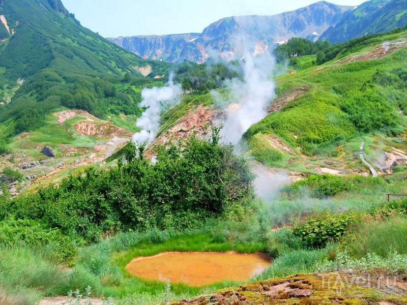 В Кроноцком заповеднике расположены термальные озера, водопады и 12 активно действующих вулканов, Камчатка / Россия