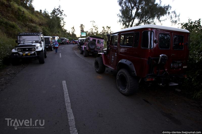 Парковка джипов около смотровой площадки / Индонезия