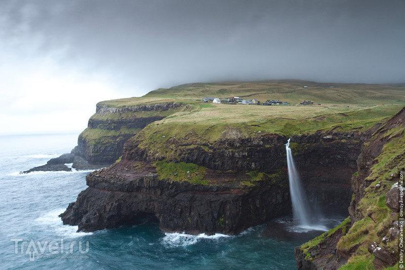 Водопад на острове Вагар / Фото с Фарерских островов