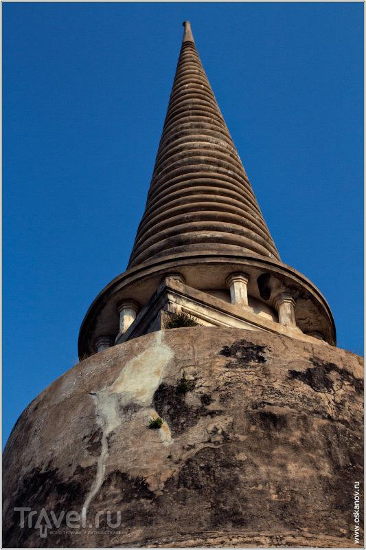 Под крышей старинной чеди чёрным пятном выделяется гнездо ласточек / Фото из Таиланда