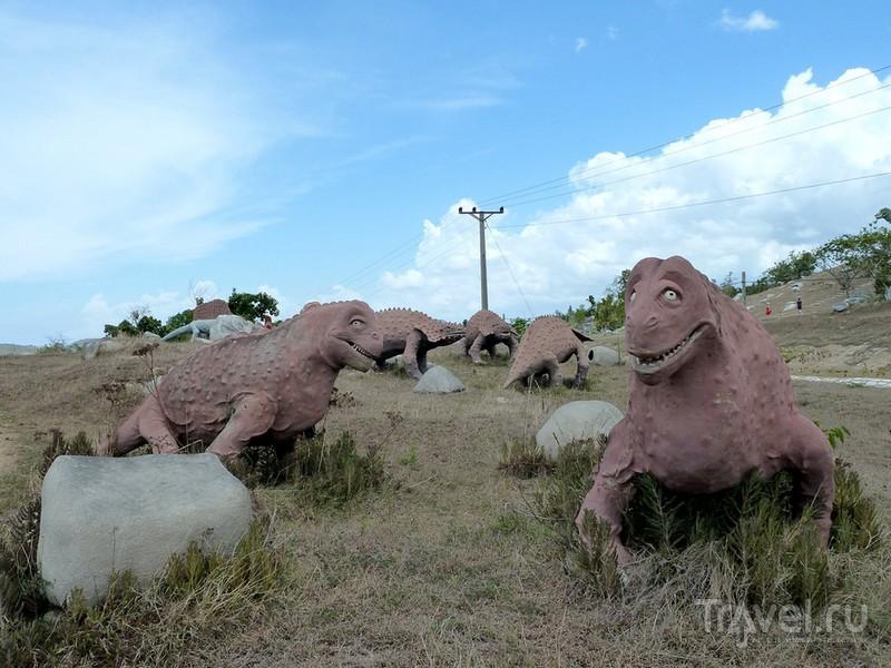 Фигуры тираннозавров, диплодоков и других динозавров в парке Valle de la Prehistoria / Куба