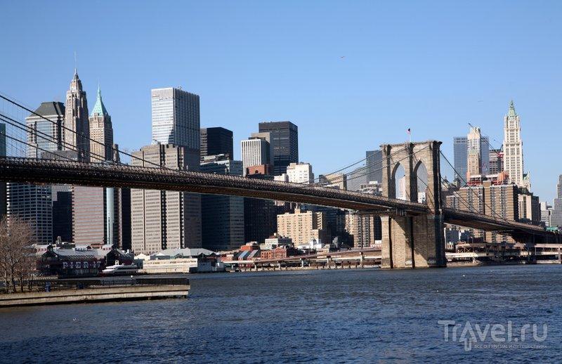 Бруклинский мост - старейший подвесной мост в стране, визитная карточка Нью-Йорка