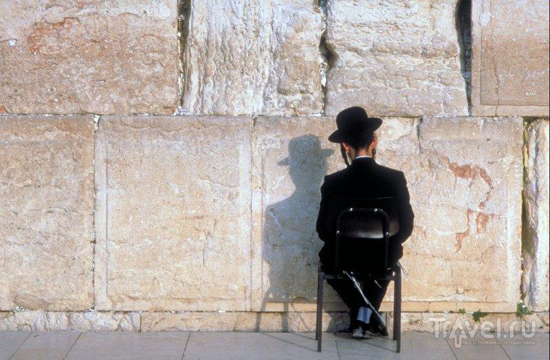Хасид молится перед Стеной плача