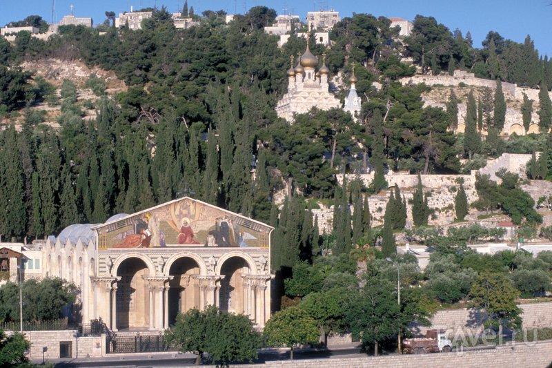 Вид на Церковь всех наций (внизу) и православную церковь Святой Марии Магдалины (вверху).