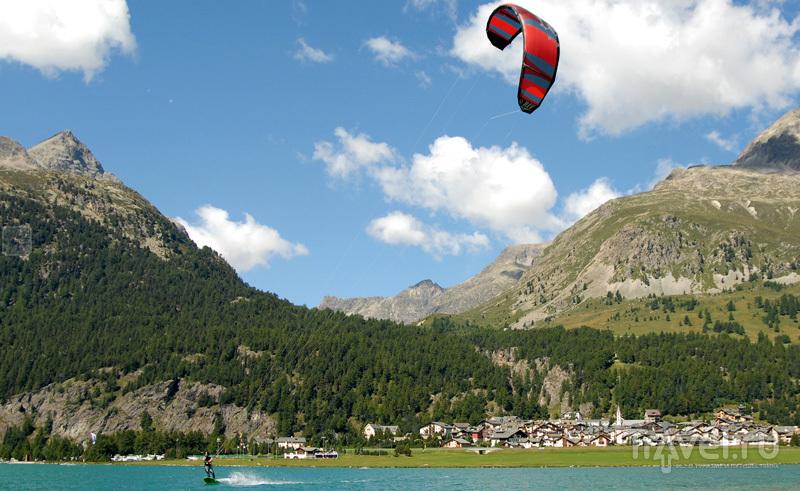 Кайтер на озерах Энгадина / Швейцария