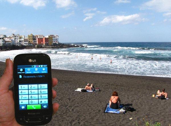 На черном пляже Тенерифе