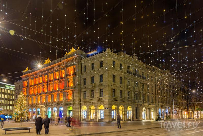 Bahnhofstrasse в рождественской подсветке