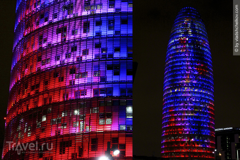 Torre Agbar Light Traces / Испания