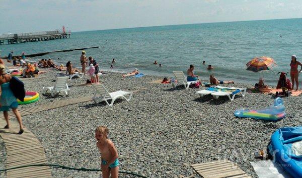 Адлер пляжа и города летом 56