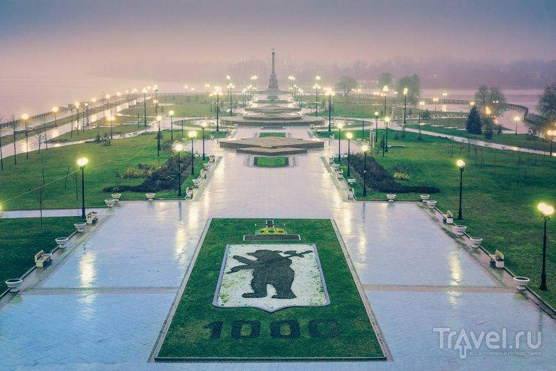 Парк тысячелетия Ярославля в дождь
