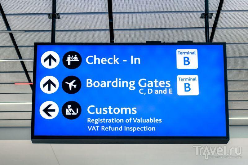Аэропорту т.д в и указателями с знакомство