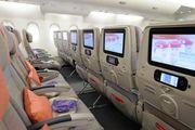 В салоне экономического класса Airbus-a380 авиакомпании Emirates