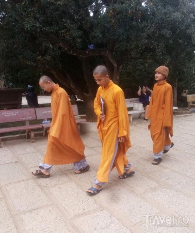 Монахи возращаются из храма